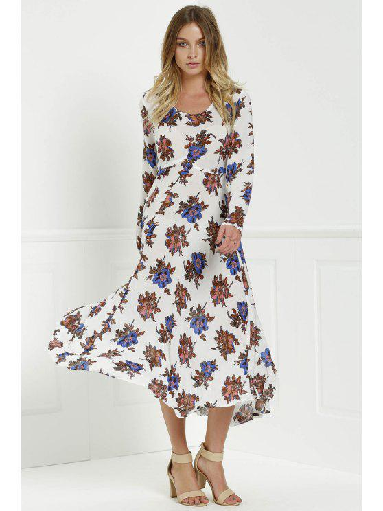 women's Long Sleeve Floral Print Side Slit Maxi Dress - WHITE XL