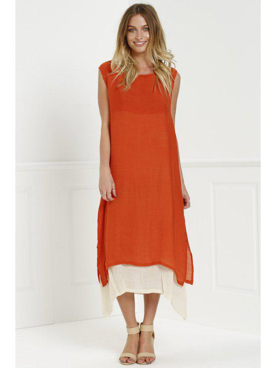 shops Color Block Sleeveless Linen Maxi Dress - ORANGE ONE SIZE(FIT SIZE XS TO M)