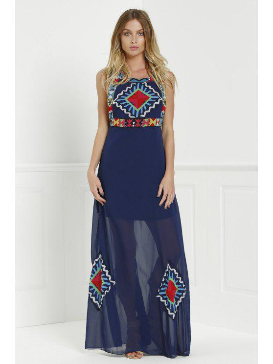 shop Floral Print Color Block Sleeveless Maxi Dress - PURPLISH BLUE S