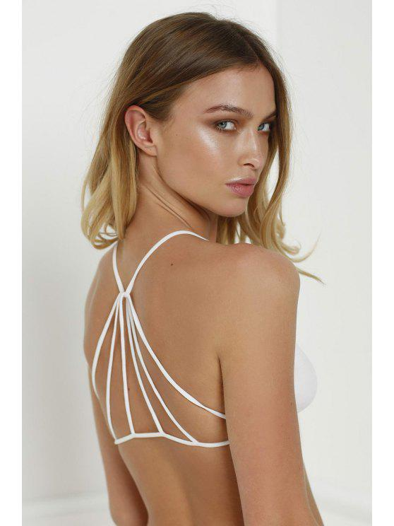 buy Spaghetti Strap Cross Solid Color Tube Top - WHITE ONE SIZE(FIT SIZE XS TO M)