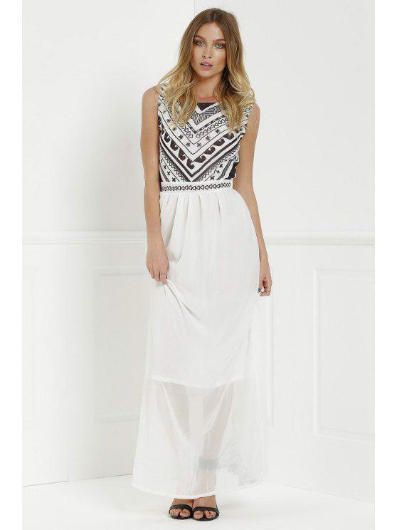 Backless Geometric Print Chiffon Maxi Dress - Blanc XL