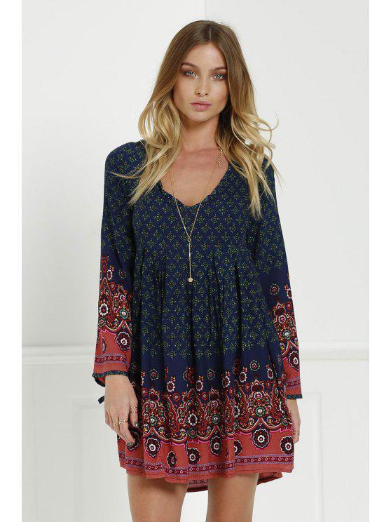 Robe Tunique élégant col en V à manches 3/4 imprimé à fleurs pour Femmes - Bleu L