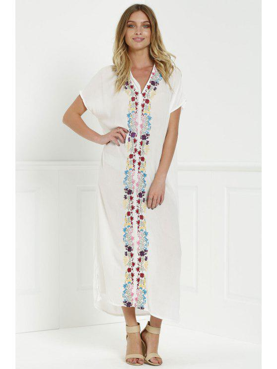 shop Bohemian Side Slit Embroidered Maxi Dress - WHITE S