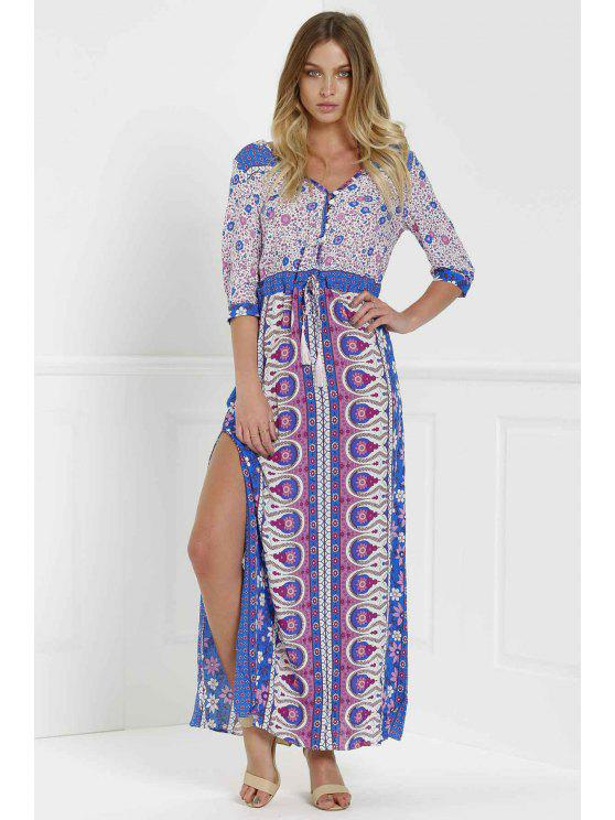 hot Scoop Neck Tiny Floral Printed 3/4 Sleeve Dress - PURPLE S