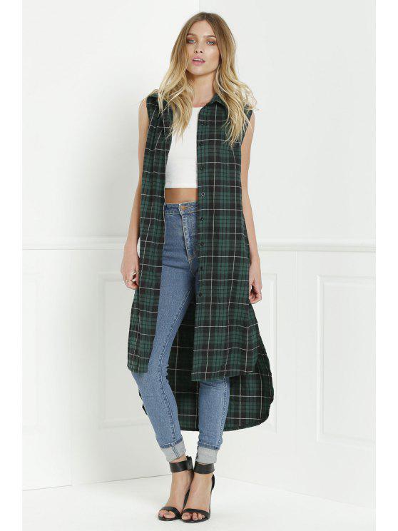 womens Plaid Shirt Neck Sleeveless Maxi Top - GREEN S
