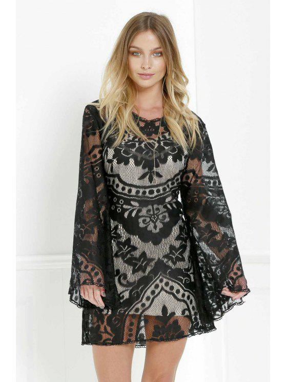 hot Black Lace Long Sleeve with Cami Dress Twinset - BLACK XL