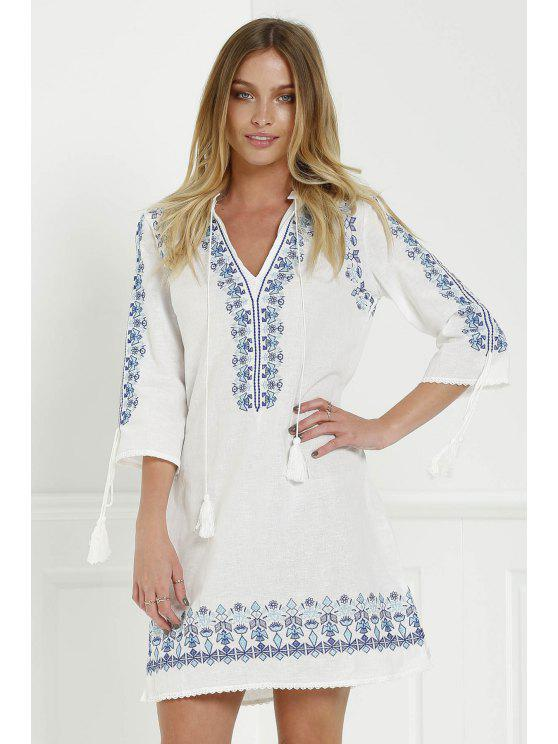 fashion Floral Embroidery Plunging Neck 3/4 Sleeve Dress - WHITE M