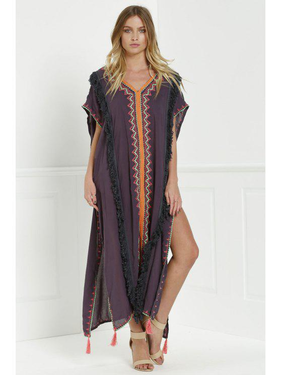 latest Embroidered High Slit Cape Dress - GRAY L