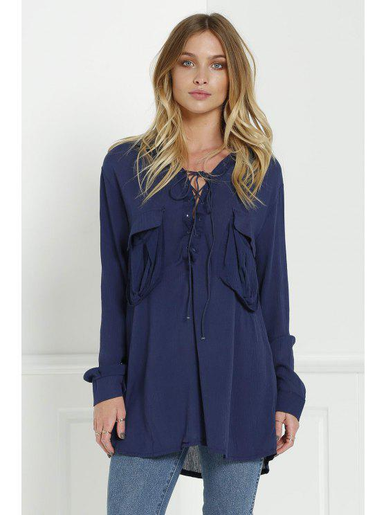 trendy Loose V Neck Long Sleeve Blouse - CADETBLUE L