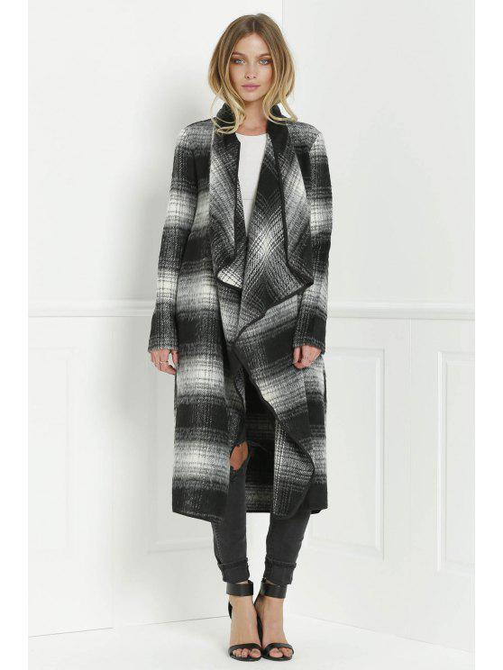 ladies Tartan Stand Collar Long Sleeves Long Coat - BLACK AND GREY S