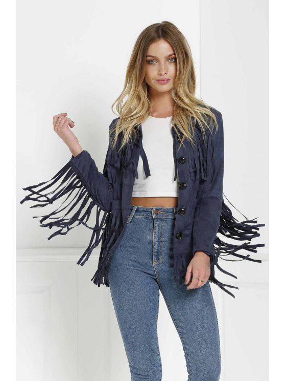 shop Tassels Spliced Suede Jacket - PURPLISH BLUE L