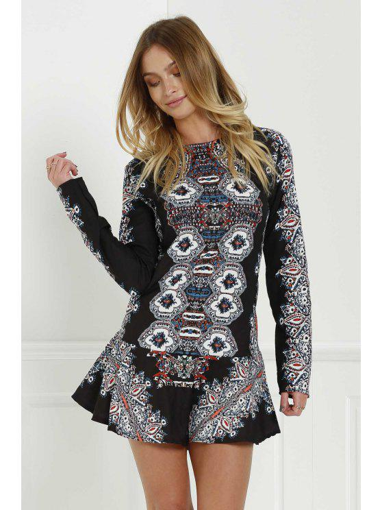 outfits Long Sleeve Printed Tunic Dress - BLACK L