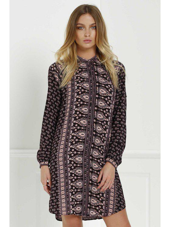 fancy Vintage Print Stand Neck Long Sleeves Dress - COLORMIX S