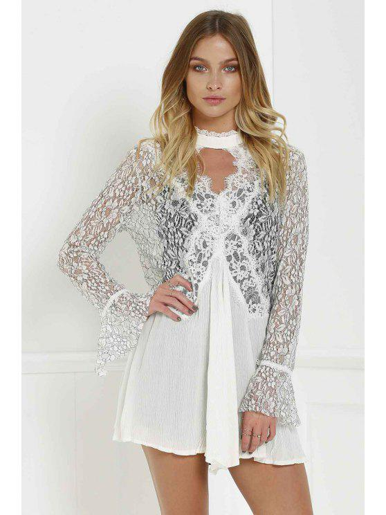 shops Stylish Lace Splicing Round Neck Openwork Long Sleeve Dress with Sundress Women's Twinset - WHITE M