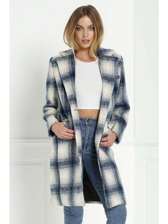 women's Checked Pattern Lapel Long Sleeve Coat - BLUE AND WHITE S