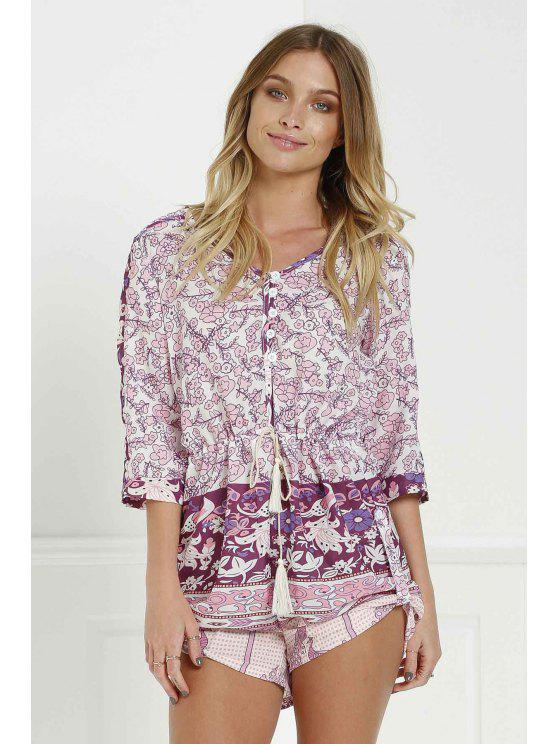 chic Spell Xanadu Playsuit Purple Haze - PURPLISH RED S