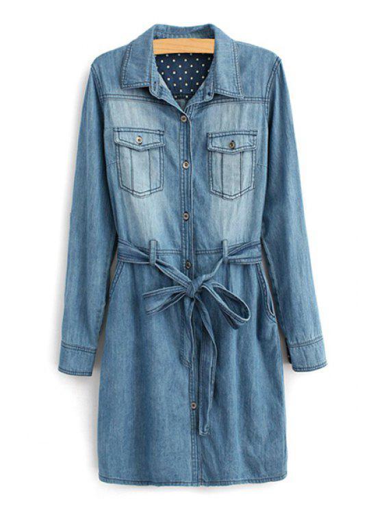 women's Long Sleeve Self-Tie Belt Denim Dress - DEEP BLUE S