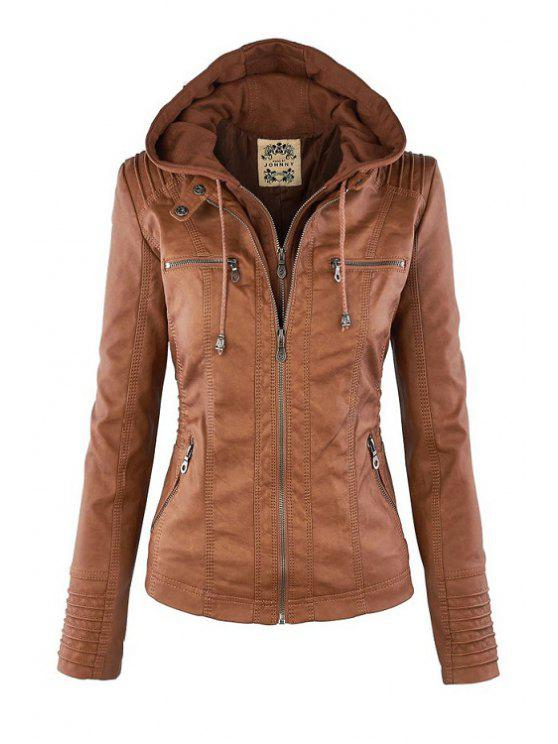 sale Solid Color PU Leather Convertible Collar Jacket - LIGHT BROWN L