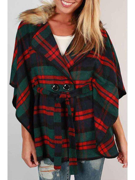 women Faux Fur Collar Batwing Sleeve Plaid Coat - RED AND GREEN M