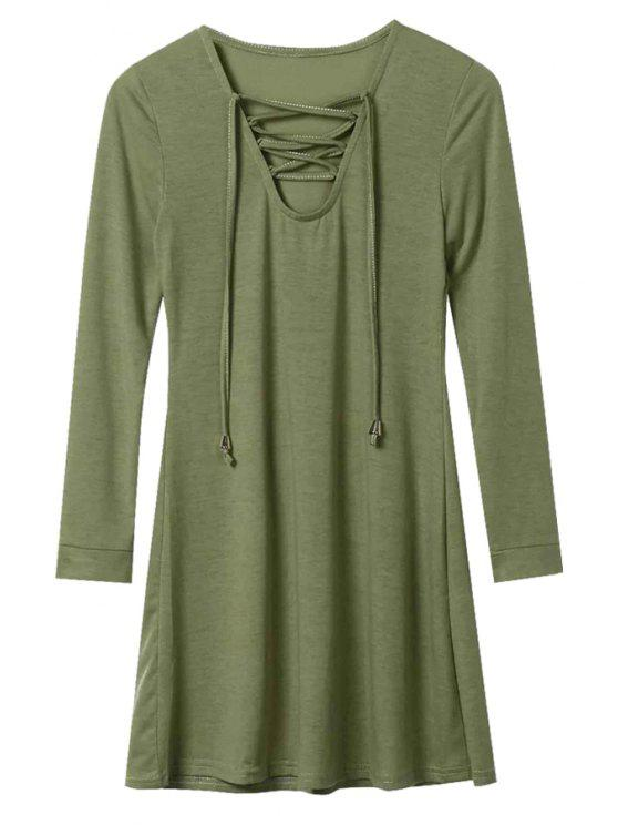chic Long Sleeve Lace-Up A-Line Dress - ARMY GREEN M