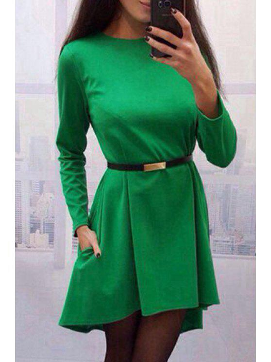 hot High Low Hem Round Collar Pure Color Dress - GREEN L