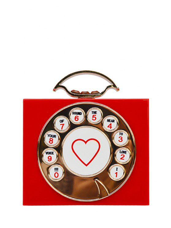 unique Telephone Shape Heart Print Evening Bag - RED