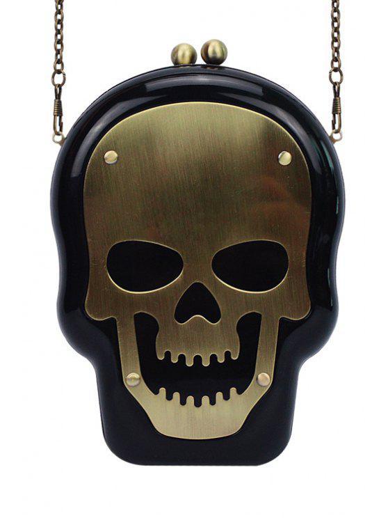 Skull Shape Kiss Lock Chains Evening Bag - Black