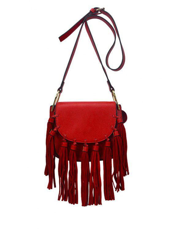 best Tassels Solid Color Cover Crossbody Bag - RED