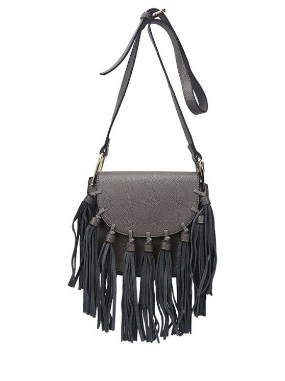 women Tassels Solid Color Cover Crossbody Bag - GRAY