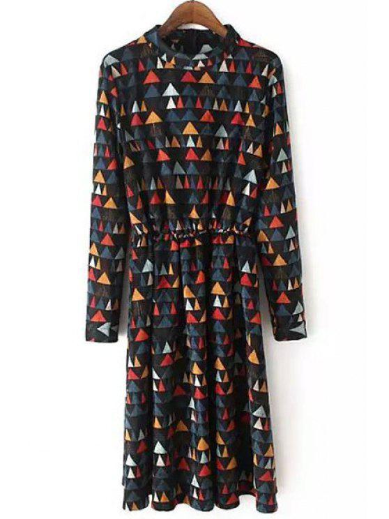 fashion Colorful Triangle Print Corduroy Dress - COLORMIX M
