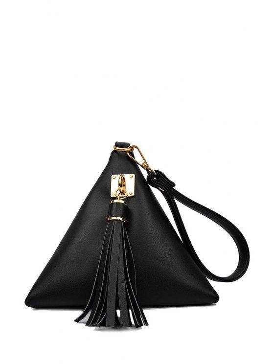 affordable Solid Color Triangle Shape Tassel Clutch Bag - BLACK