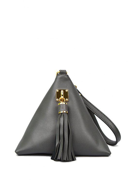 buy Solid Color Triangle Shape Tassel Clutch Bag - GRAY