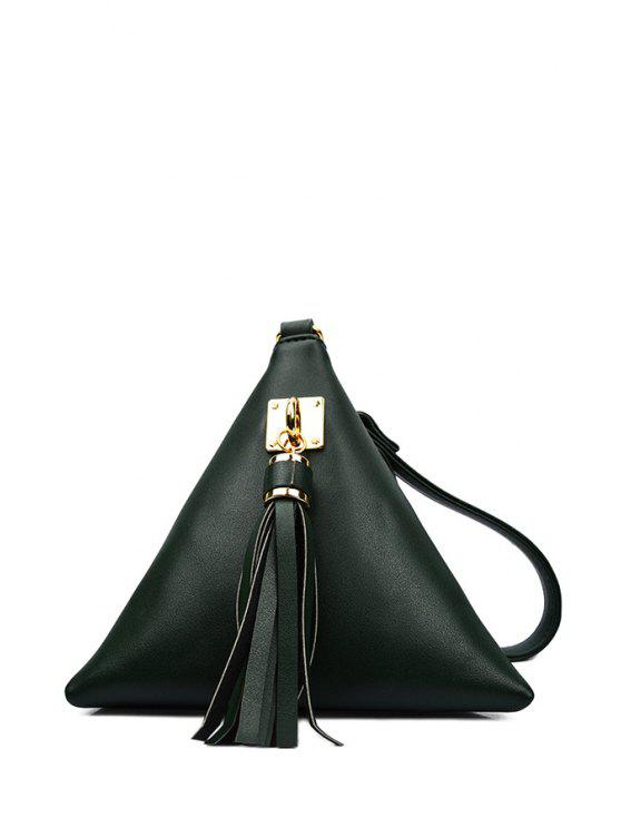 shop Solid Color Triangle Shape Tassel Clutch Bag - GREEN