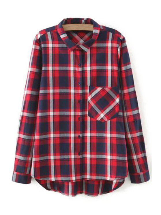 womens One Pocket Long Sleeve Plaid Shirt - RED S