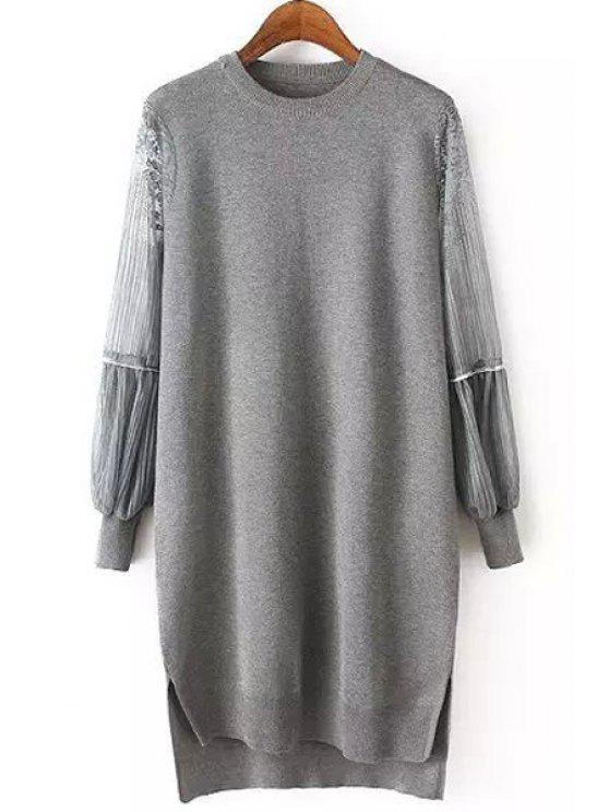 5427162a5d 33% OFF  2019 Lace Splicing Round Collar Long Sleeve Jumper In GRAY ...