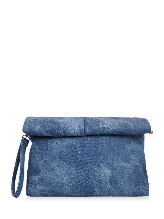 Solid Color Hemming Denim Clutch Bag - Azul