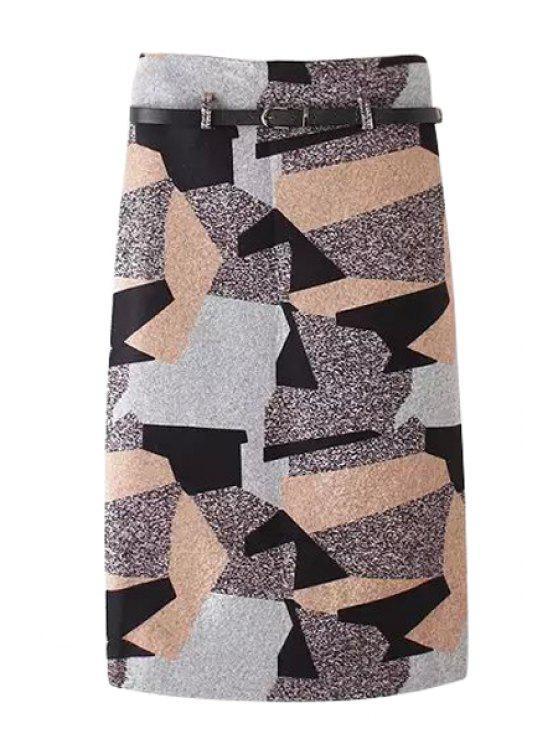 ladies Woolen Geometric Pattern Pencil Skirt - COLORMIX M
