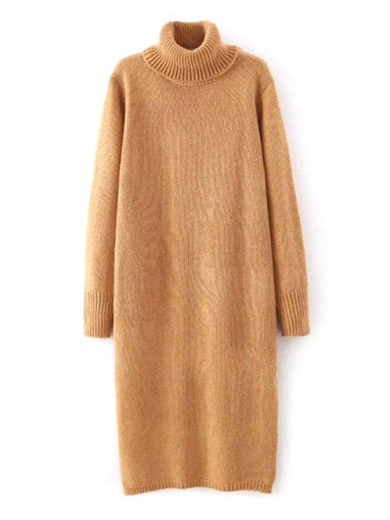 8be3f844cd0d 41% OFF  2019 Solid Color Long Sleeve Turtle Neck Sweater Dress In ...