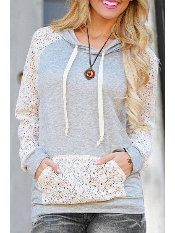 trendy Cutout Front Pocket Pullover Hoodie - WHITE L