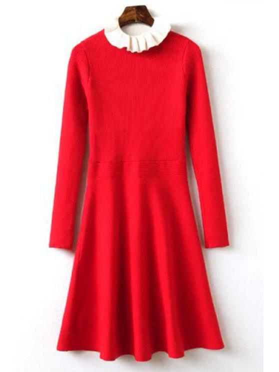 527c93a5427 buy Ruffle Collar Fit and Flare Sweater Dress - RED ONE SIZE(FIT SIZE XS