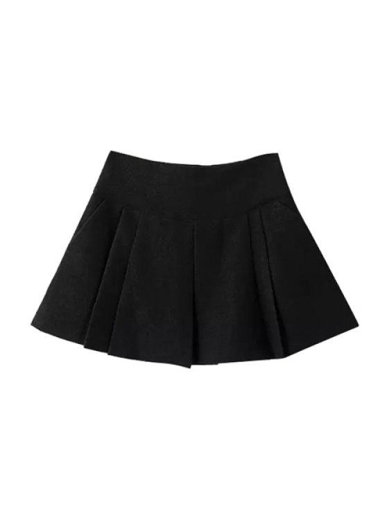 shop Wool Solid Color Pleated Mini Skirt - BLACK S