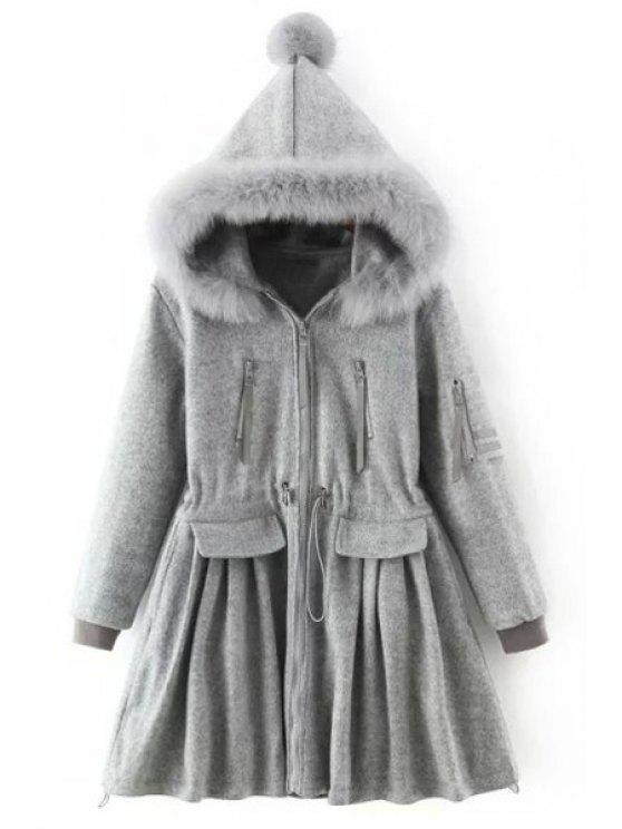 new Gray Faux Fur Hooded Long Sleeve Coat - GRAY S