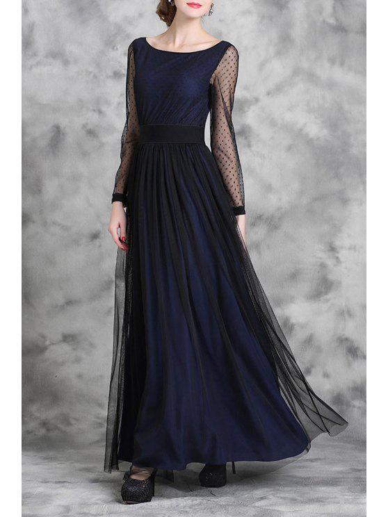 a2fa340f45a 2019 Voile Spliced Long Sleeve Maxi Dress In DEEP BLUE L