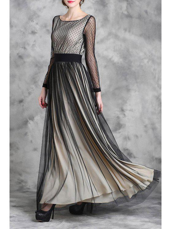 079ff25f276 24% OFF  2019 Voile Spliced Long Sleeve Maxi Dress In APRICOT
