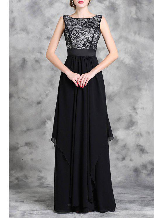 online Lace Spliced Sleeveless A Line Maxi Dress - BLACK M