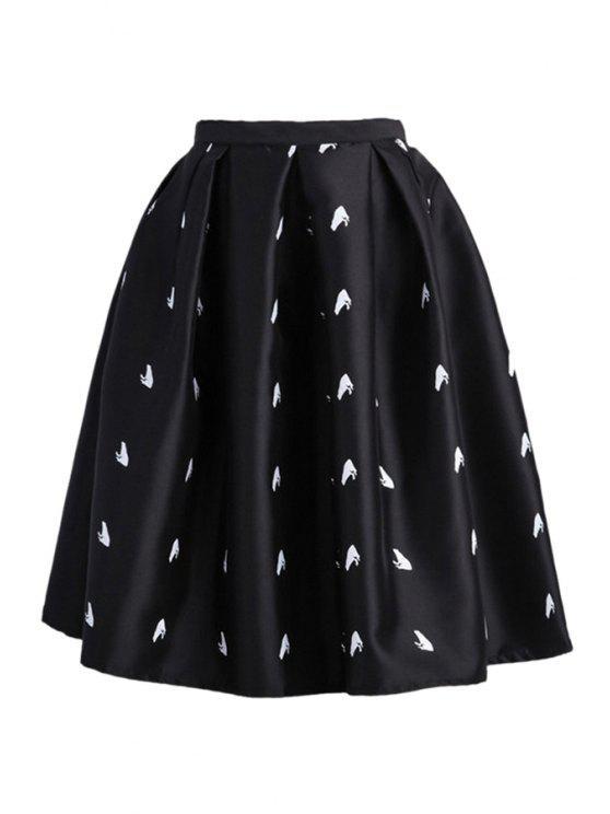 affordable High-Waisted Ruffled A-Line Skirt - BLACK XL