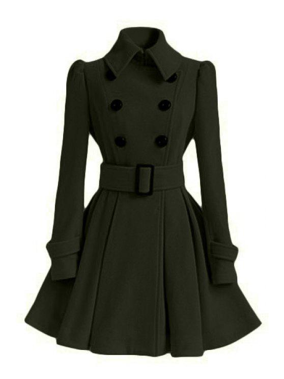 Solid Color Belted Turn Down Collar Wool Dress Coat   Army Green Xl by Zaful