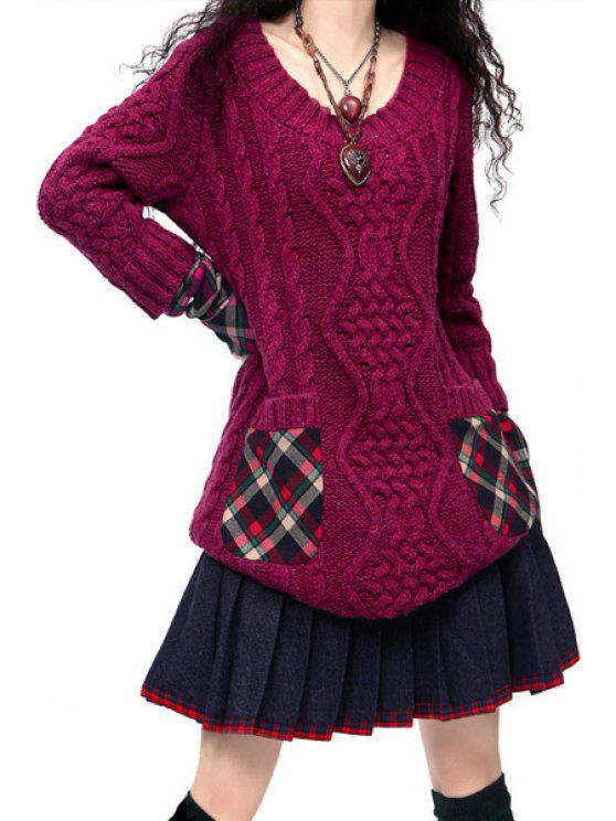 best Hooded Cable Knit Pocket Sweater Dress - PURPLE ONE SIZE(FIT SIZE XS TO M)