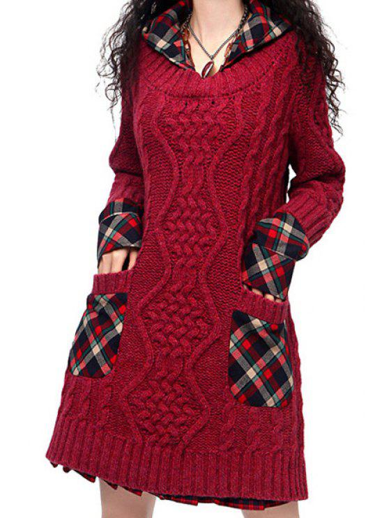 b88b2991423 31% OFF  2019 Hooded Cable Knit Pocket Sweater Dress In RED