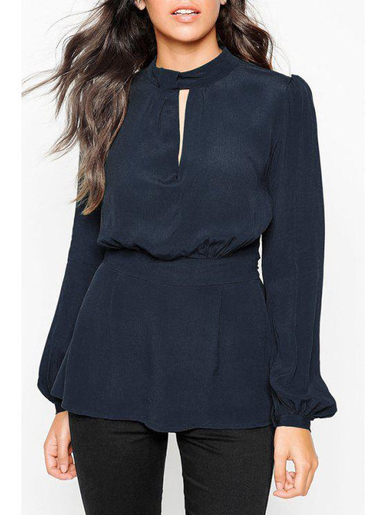 outfits Solid Color Cut Out Stand Collar Blouse - CYAN XS